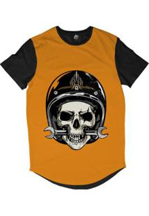 Camiseta Longline Bsc Caveira De Capacete Mordendo Chave Inglesa Sublimada - Masculino-Laranja