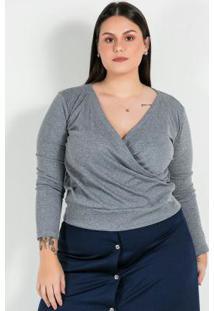 Blusa Plus Size Mescla Com Decote Transpassado