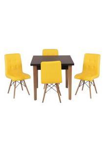 Conjunto Mesa De Jantar Luiza 80Cm Preta Com 4 Cadeiras Gomos - Amarelo