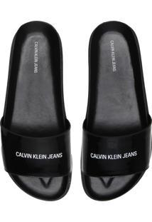 Chinelo Slide Couro Calvin Klein Logo Preto