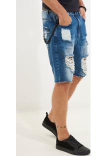 Bermuda John John Rock França Jeans Azul Masculina Be Rock França-Jeans Medio-40