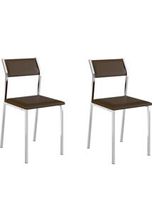 Kit 2 Cadeiras 1709 Cacau/Cromado - Carraro Móveis