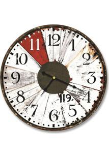 Relógio De Parede Decorativo Vintage Madeira Branca 35Cm Médio