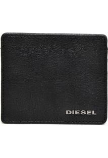 Carteira Couro Diesel Metal Preta