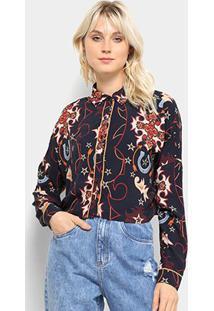 Camisa Lez A Lez Rayon Bali Feminina - Feminino-Marinho