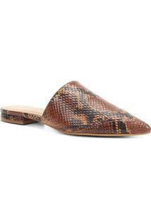 Mule Couro Shoestock Flat Snake - Feminino-Caramelo