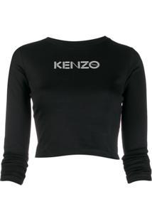 Kenzo Blusa Cropped Com Estampa De Logo - Preto