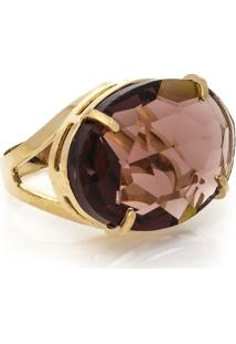 Anel Cristallo Cristal Oval - Feminino-Dourado