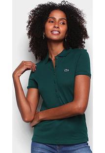Camisa Polo Lacoste 5 Botões Feminina - Feminino-Verde