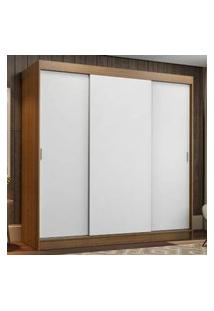 Guarda-Roupa Casal Madesa Reno 3 Portas De Correr Rustic/Branco Cor:Rustic/Branco