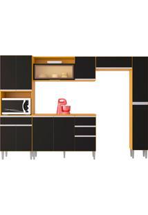 Cozinha Compacta C/ Balcão E Painel Vanessa-Poquema - Damasco / Preto