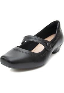 Sapato Boneca Pattini Confort Em Couro Salto Baixo Preto