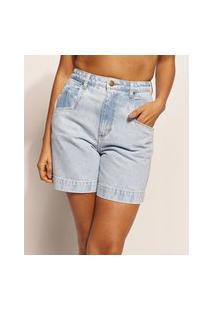 Bermuda Jeans Feminina Emi Beachwear Mom Cintura Alta Azul Claro