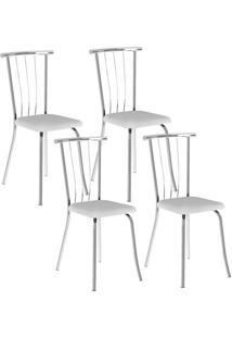 Cadeira Carraro 154 Branco,Cromado 4 Cadeiras