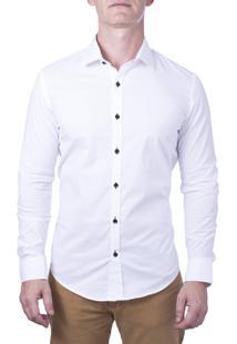 Camisa Alfaiataria Burguesia Branca Com Botões Preto