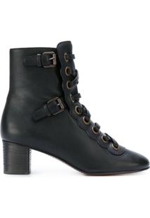 Chloé Ankle Boot De Couro 'Orson' - Preto