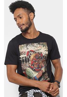 Camiseta Cavalera Estampa Caveira Magrinetto Masculina - Masculino-Preto