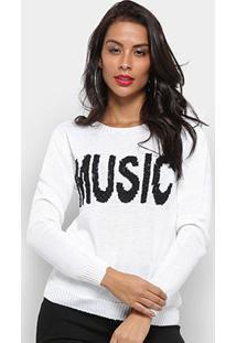 Tricô Fast Glam Suéter Tricot Music Feminino - Feminino-Branco
