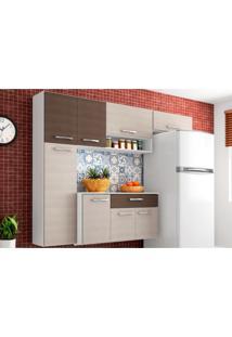 Cozinha Compacta Suspensa Com Balcão Anita 08 Portas Amêndoa/Capuccino - Poquema