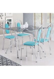 Conjunto De Mesa Tampo Vidro Com 4 Cadeiras Aquila Móveis Brastubo Verde