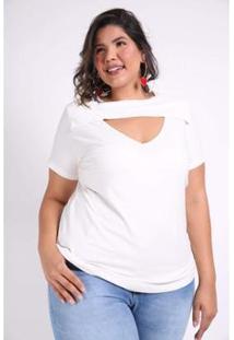 Blusa Kauê Plus Size Canelada Feminina - Feminino-Off White