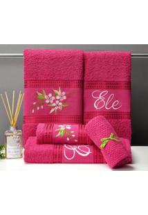 Jogo De Banho Aline 5 Peças - Pink