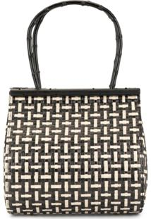Cult Gaia Cross Hatch Woven Tote - Preto