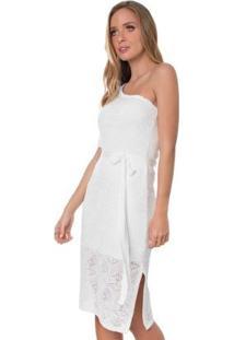 Vestido Rosa Helena Tricot Pérola Ombro Feminino - Feminino-Branco