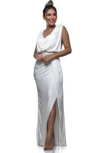 Vestido Longo Clara Arruda Costa Detalhe - Feminino-Off White