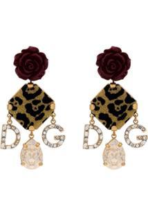 Dolce & Gabbana Par De Brincos Com Animal Print - Dourado