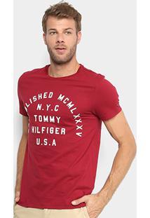 Camiseta Tommy Hilfiger Flocada Nyc Masculina - Masculino-Bordô