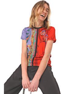 Blusa Desigual Craft Roxa/Vermelha