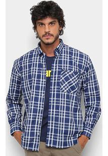 Camisa Xadrez Wrangler Manga Longa Masculina - Masculino-Azul+Branco