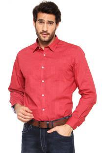 Camisa Perry Ellis Geométrica Vermelha