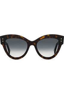 Fendi Eyewear Óculos De Sol Gatinho Oversized - Marrom