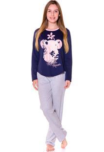 Pijama Adulto Evanilda Camiseta Manga Longa E Calça Minni Marinho E Rosa