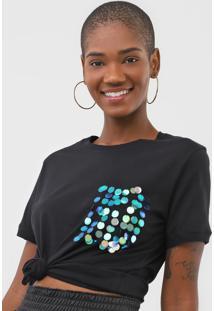 Camiseta Cativa Bordada Preta - Preto - Feminino - Algodã£O - Dafiti