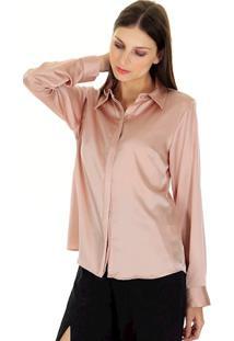 Camisa Acetinada Lisa Gola Italiana Com Vista Embutida Com Botões