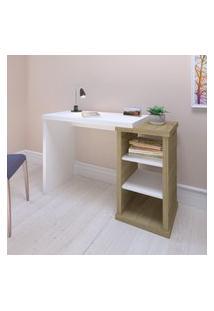 Mesa Escrivaninha 2 Prateleiras Artany Wood Home Office Olmo E Branco