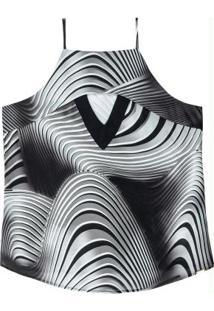 Blusa Estampada Com Decote Reto Preto