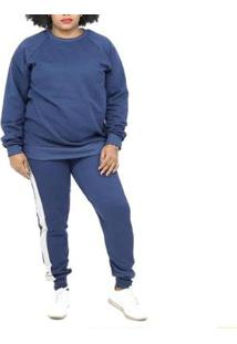 Conjunto Dpontes Moletom Plus Size Flanelado Feminino - Feminino-Azul