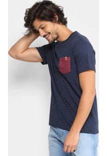 Camiseta Reserva Poá Bolso Contraste Masculina - Masculino-Marinho