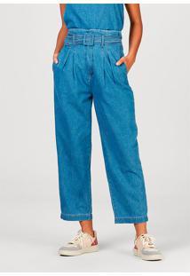 Calça Feminina Em Jeans De Algodão Com Modelagem Clochard