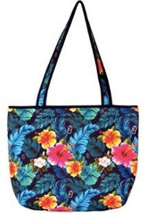 Bolsa Térmica Floral Bora Feminina - Feminino-Azul