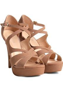 Sandália Couro Shoestock Meia Pata Cruzada Feminina - Feminino-Bege