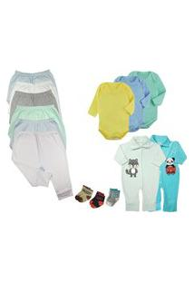 Kit Roupa De Bebê 15 Peças Enxoval Dia A Dia Menino Menina Azul