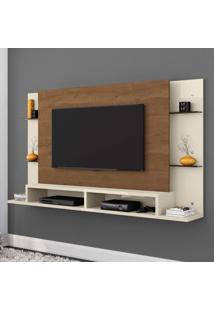 Painel Para Tv Até 55 Polegadas 2 Nichos 4 Prateleiras Belaflex Branco/Nature