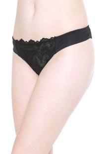 Calcinha Calvin Klein Underwear Fio Dental Las Palmas Preta