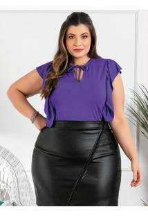 Blusa Plus Size Roxa Com Babado