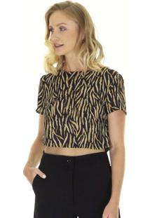 Blusa Cropped Manga Curta Estampa Animal Print Aha